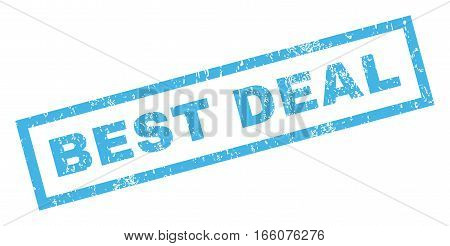 Best Deal text rubber seal stamp watermark. Tag inside rectangular shape with grunge design and dirty texture. Inclined vector blue ink sticker on a white background.
