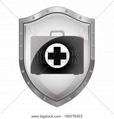 metallic shield with first aid kit vector illustration