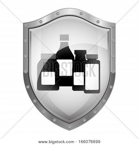 metallic shield with remedy bottles vector illustration