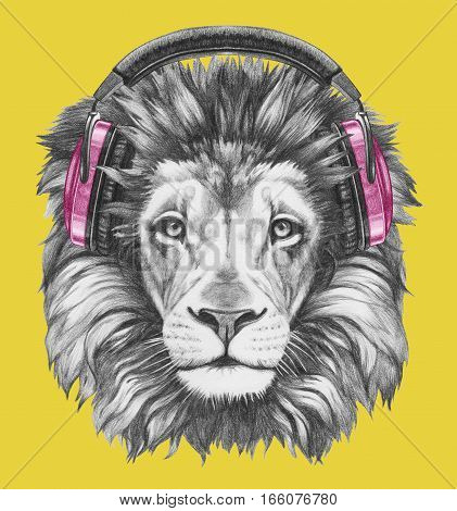 Portrait of Lion with headphones. Hand drawn illustration.