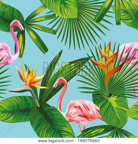 Seamless composition of beautiful pink flamingo birds tropical plants and flowers on a sky blue background. Vector illustration pattern wallpaper