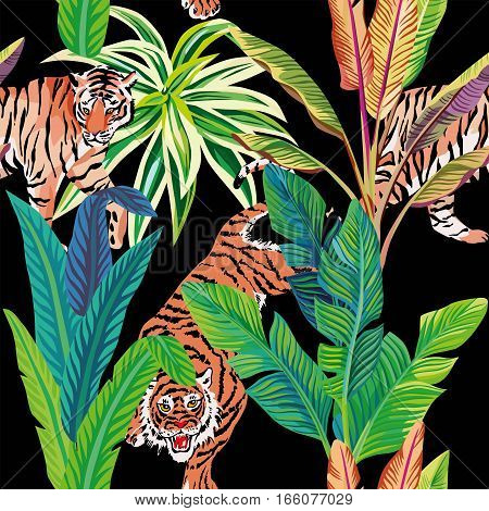 Seamless composition of the wild predatory animals tiger in the tropical jungle. Vector illustration of a print pattern wallpaper black background