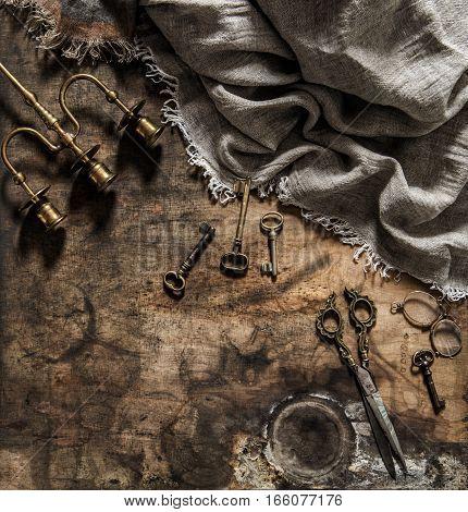 Vintage items scissors keys. Nostalgic still life