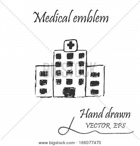 Health facility icon. Web medical icon, drawn by hand with a pencil
