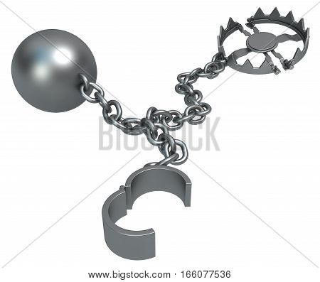 Shackles open chain with ball and trap dark metal 3d illustration isolated horizontal over white