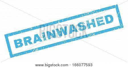 Brainwashed text rubber seal stamp watermark. Caption inside rectangular shape with grunge design and dust texture. Inclined vector blue ink emblem on a white background.
