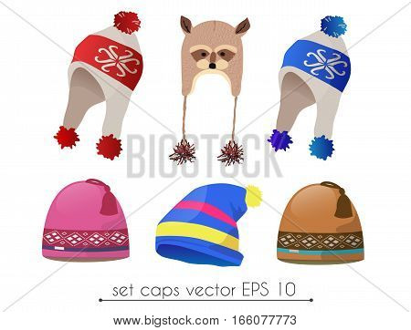 Vector set of fancy realistic winter earflap hat, star style, racoon style and ear style ski hat. Poster banner print advertisement infographics design element
