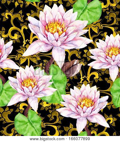 Lily flowers - waterlily and golden asian ornament. Seamless floral pattern. Watercolor