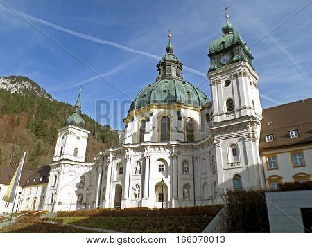Gorgeous Rococo Church of Ettal Abbey or Kloster Ettal in Garmisch-partenkirchen, Bavaria, Germany