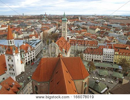 Breathtaking view of Munich as seen from the tower of St. Peter's church, Munich, Bavaria, Germany