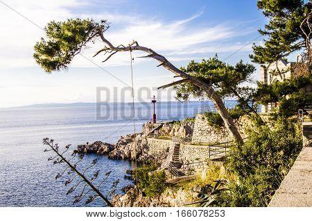 dalmatia coast feature at sunset island of losinj croatia