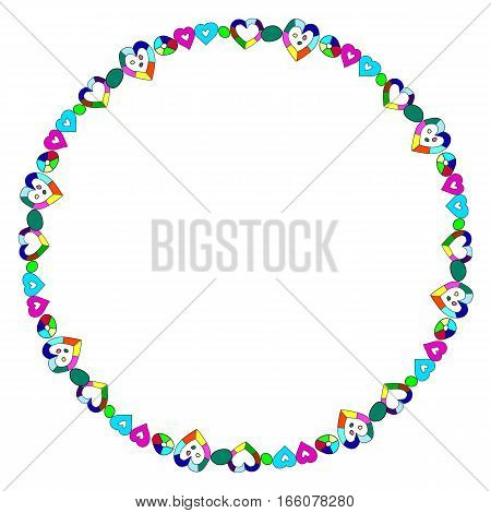 Vector round frame made of hearts with space for text. Hand drawn bright whimsical hearts.