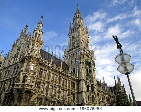 The Gorgeous New Town Hall or Neues Rathaus at Marienplatz in Munich, Bavaria, Germany
