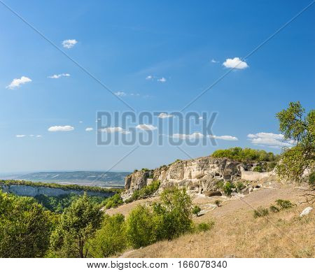 The Crimean mountains. Landscape view of blue sky and the plateau of Chufut-Kale. Crimea Russia