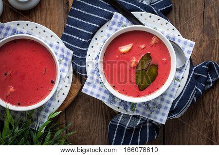 Vegetarian Red Soup - Borsch In Green Bowl.