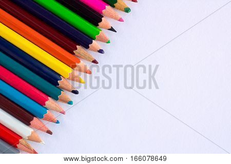 White Background For Presentations With Colourful Right Upper Pencils Corner