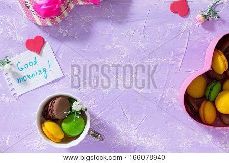 Breakfast, Mother's Day, Birthday Background. Mug Cakes Macaron, Leaf Notebook Inscription Good Morn