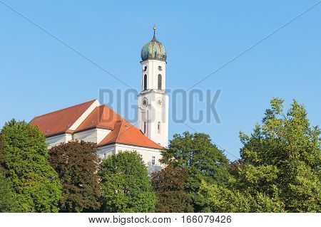 Tranquil and peaceful scenery in Bavarian small town Schongau with old ancient Catholic church