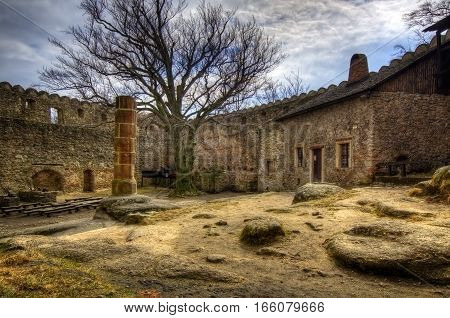 Courtyard inside the walls of Chojnik Castle Poland