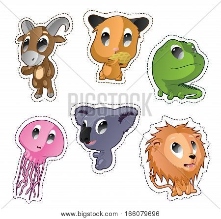 Cute cartoon vector badges with animals. Set with goat, hamster, iguana, jellyfish, lion