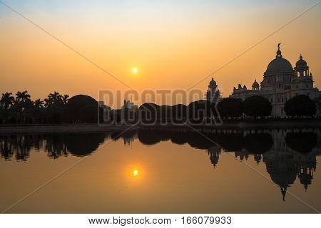 Victoria Memorial architectural building and monument at sunrise.