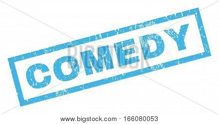 Comedy text rubber seal stamp watermark. Tag inside rectangular shape with grunge design and scratched texture. Inclined vector blue ink emblem on a white background.