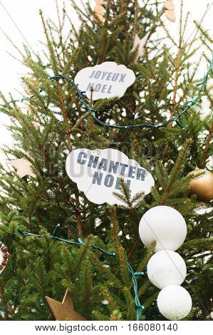 Chanter Noel; in French - traslates as Let's sing Christmas seen on a green tree in public Christmas Market in Thann; france; Alsace