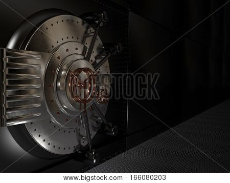 Metal closed the safe door 3D illustration