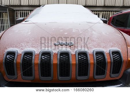 PRAGUE CZECH REPUBLIC - JANUARY 20: Jeep logo on Jeep Cherokee car