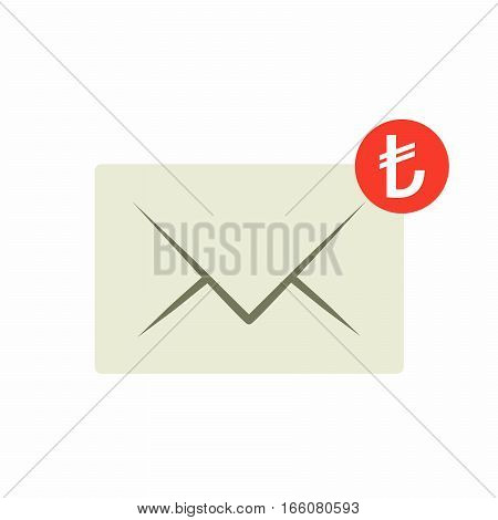 Email money transfer icon. Envelope with notification, vector design isolated on white background