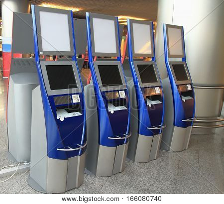 Airport terminal. Automatic ticketing system in airport terminal.
