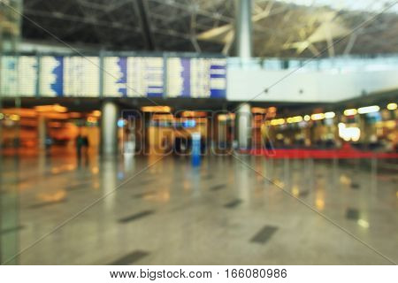Abstract blur terminal airport blur for background. Blurred background of people traveling in Airport.