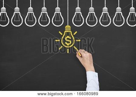 Finance Idea Concepts Drawing Working on Chalkboard Background