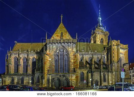 The Eglise Saint-Martin (St. Martin church) is the main church and principal Gothic monument of Colmar Haut-Rhin France. Evening