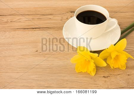 A cup of coffee with two daffodils in the foreground on a brown wooden background with lots of copy space.