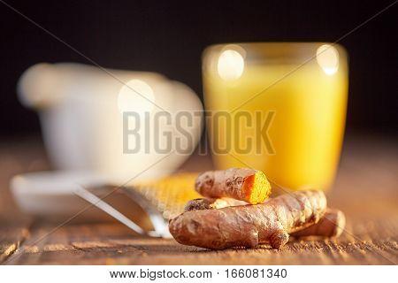 Turmeric Tea Golden Milk With Curcuma On Table