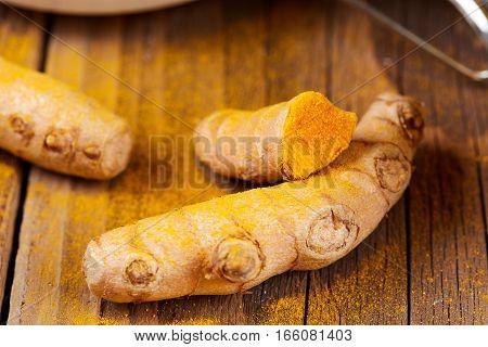 Curcuma Root For Golden Milk On Table