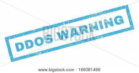 Ddos Warning text rubber seal stamp watermark. Tag inside rectangular banner with grunge design and dust texture. Inclined vector blue ink emblem on a white background.
