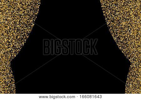 Gold glitter curtains isolated on black. Celebratory background. Golden explosion of confetti. Vector illustrationeps 10.