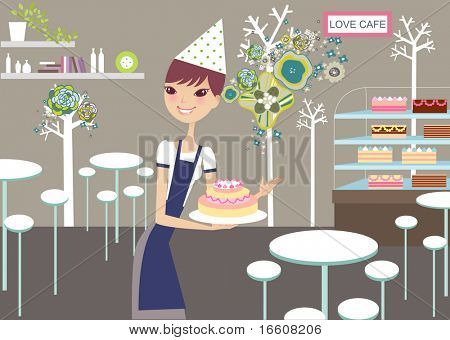 girl promoting lovely cakes