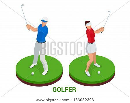 Golf club concept. Isometric golfer and apparel. Sport design elements. Flat vector golf set app. Golf stuff, golf course, golf ball