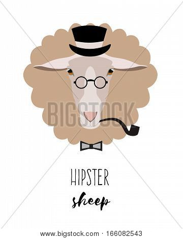 Vector hipster sheep in monocle and hat in flat cartoon style. On isolated background. Poster, banner, print advertisement graphic design element isolated