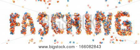 Carnival background with colorful confetti letters on white background