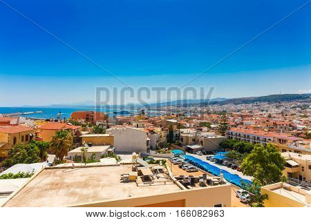 Rethymnon Island Crete Greece - June 23 2016:Panorama of city Rethymnon and sea of Crete. View from wall of Fortezza Castle