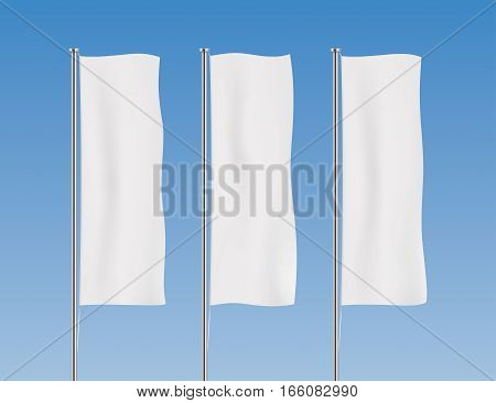 White banner flag vector templates. Row of vertical flags on a blue sky background. Advertising flags realistic mockup.