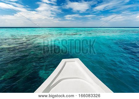 White Yacht At Clear Ocean Near Coral Reef, Nature Landscape