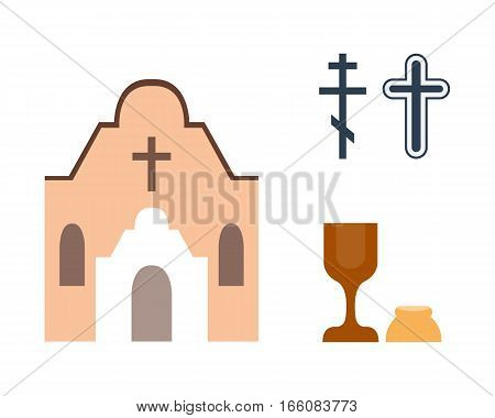 Christianity religion flat icons vector. Illustration of traditional holy crucifix silhouette. Place for praying people character design and faith priest church architecture