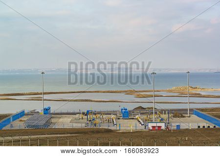 TUZLA TAMAN PENINSULA RUSSIA - JANUARY 04.2017: Camera reception and launch infrastructure of the gas pipeline from mainland Russia to the Crimean Peninsula