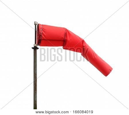 Windsock poiting the position of the wind. Red windsock isolated on white background also known as Biruta de Vento in portuguese.