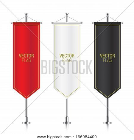 Set of vector banner flag templates hanging on a silver metallic poles. Red, white and black gothic vertical flag mockups, isolated on a white background.